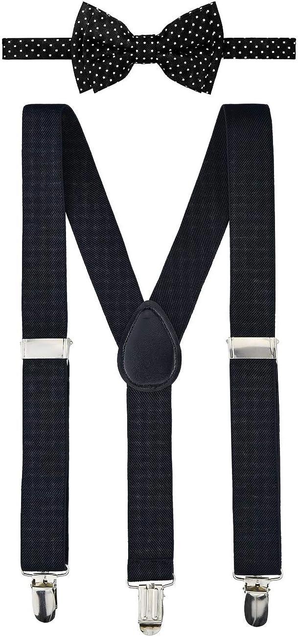 Retreez Boy's Suspender Bow Tie Set Modern Mini Polka Dots Pre-Tied Bow Tie