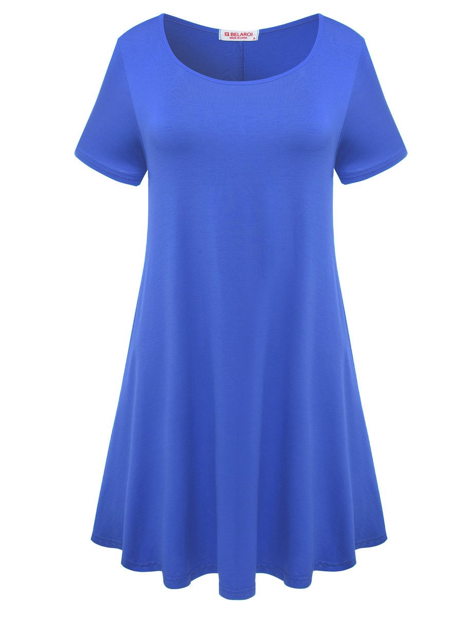 Available at Amazon: BELAROI Women's Comfy Swing Tunic Short Sleeve Solid T-Shirt Dress