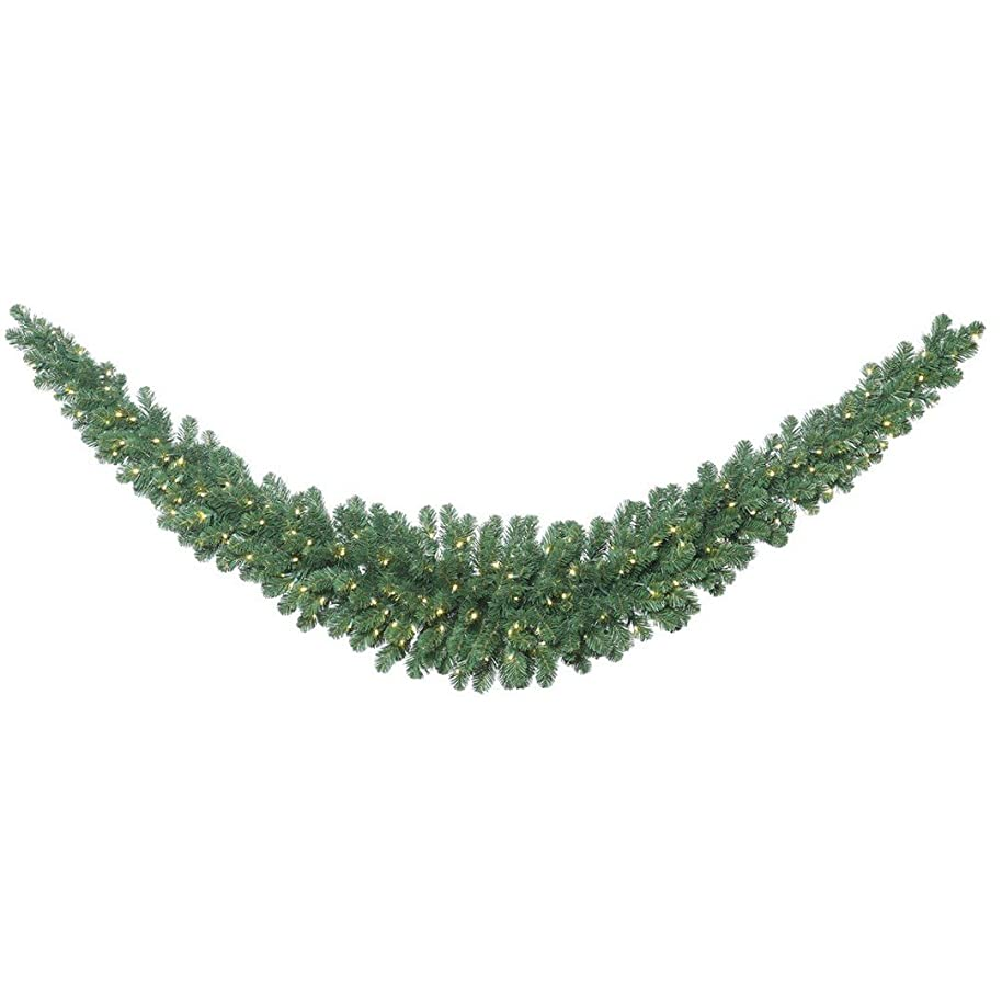 Vickerman C164921LED Fir Swag Garland with 286 PVC Tips & 150 Single Mold LED Wide Angle Lights, 9', Warm White/Oregon