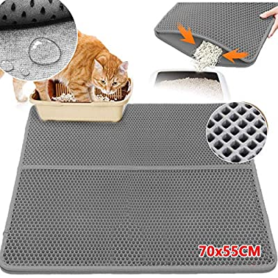 Upgraded Cat Litter Mat Trapper 70x55CM, Waterproof Urine Proof Anti-Slip Double-Layer Kitty Litter Box Mats Scatter Control, Easy Clean Foldable Soft Trapping Mats
