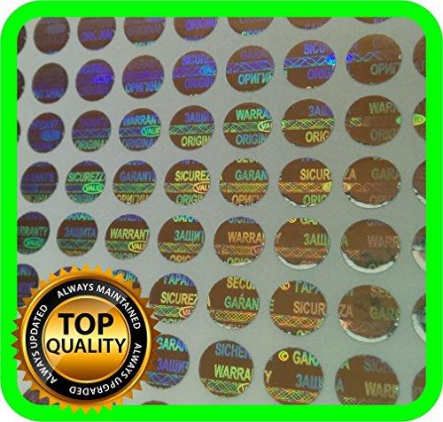 1200 pegatinas de seguridad con holograma, etiquetas de seguridad adhesivos para invalidar garantía, 6 mm de diámetro.