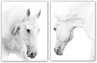 """White Horse Art Print Set of 2 (12""""X16"""", Wild Horse Artwork, Animals Pictures of Horse Black White Canvas Wall Art for Bedroom Decoration, Minimal Pint Home Decor, No Frame"""
