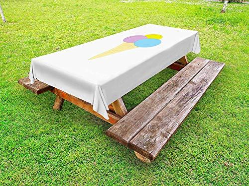 LIS HOME EIS Tischdecke im Freien, lebendige Illustration eines Waffelkegels mit 3 Kugeln EIS, dekorative waschbare Picknicktischdecke, gelbe hellblaue Flieder
