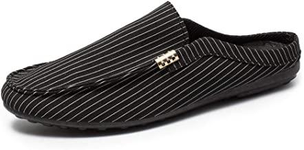 Men's Loafer Flats Mules Flat Slipper Casual Shoes Breathable Driving Loafer for Men with Metal Decoration Slip on Striped Cloth Lightweight Round Toe (Color : Black, Size : 40 EU)