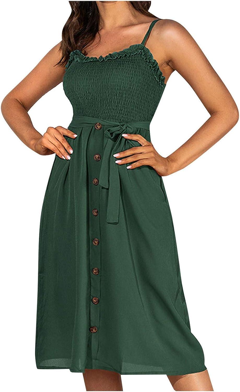 Spaghetti Strap Maxi Linen Dress for Women Polka Dot Corset Button Vacation High Waist