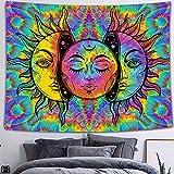 QAWD Tapiz de Mandala Tapiz de Marzo Tapiz de Tema en Blanco y Negro Bohemia Sol Luna Fondo de Tela Manta Tela Colgante A11 150x200cm