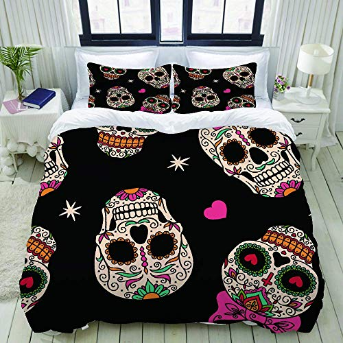 Nonun Duvet Cover,Candy Funny Sugar Skull Bowknot Skeleton Dead Celebration Mexico,Bedding Set Ultra Comfy Lightweight Luxury Polyster Quilt Cover Sets (3pcs)