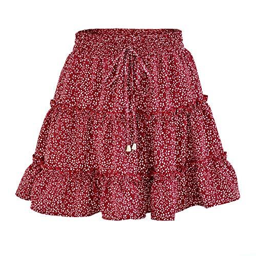 Nobrand Falda De Cintura Elástica Plisada con Volantes Y Estampado De Punto De Flores Boho para Mujer