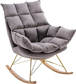 Rocking Chair with Soft Cushion, Comfortable Linen Fabric Recliner Relaxing Chair, Relax Lounge Chair for Bedroom Living R...
