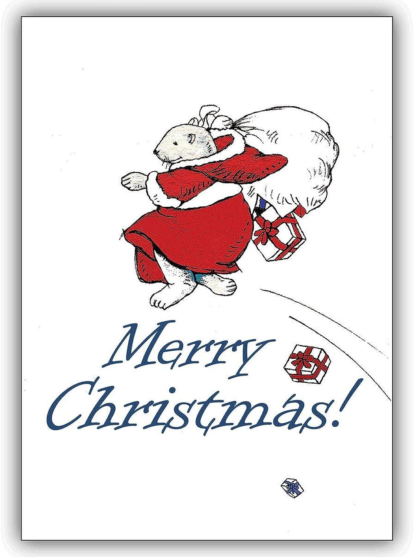 100er 100er 100er Set Schöne Weihnachtskarten mit fliegendem Eisbär Santa Weihnachtsmann, mit Innentext (Var8) drucken lassen, Business Weihnachtsgruß zu Neujahr für Kunden & Mitarbeiter  Merry Christmas B01MDOLBQU    | Verrückte Preis  5a5c3e