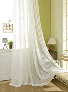 White Sheer Curtains 63 inches Length, Embroidered Window Treatment Curtain Sheer Voile Panels for Kitchen, Small Windows, 42x63, 2 Panels