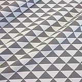 Stoff Meterware Baumwolle grau Dreieck weiß Neu Vorhang