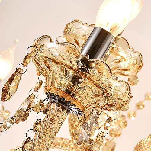 Samger Samger Luxuriöse 10 Arm Kronleuchter K9 Kristallglas Deckenleuchte Pendelleuchte Cognac Farbe für Wohnzimmer Schlafzimmer Flur Eintrag - 7