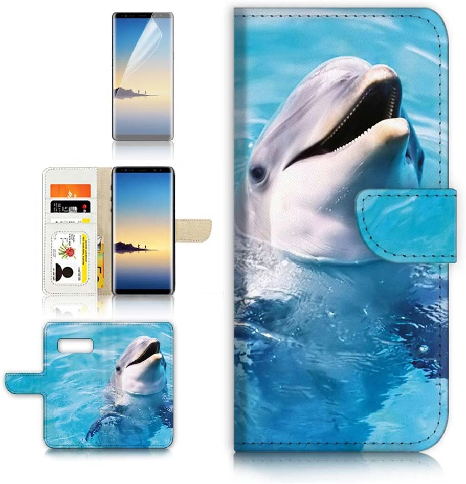 (for Samsung Note 8, Galaxy Note 8) Flip Wallet Case Cover & Screen Protector Bundle! A8204 Dolphin