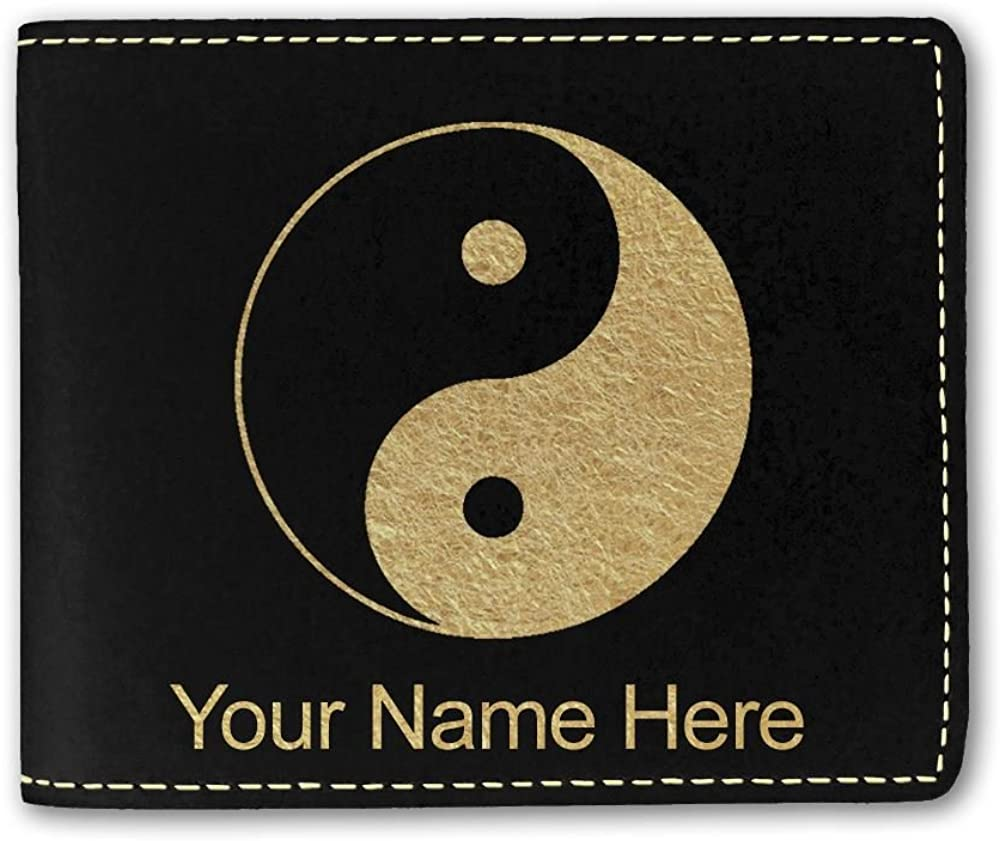 Faux Leather Wallet, Yin Yang, Personalized Engraving Included