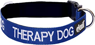 THERAPY DOG Blue Color Coded S-M L-XL Neoprene Padded Dog Collar PREVENTS Accidents By Warning Others of Your Dog in Advance