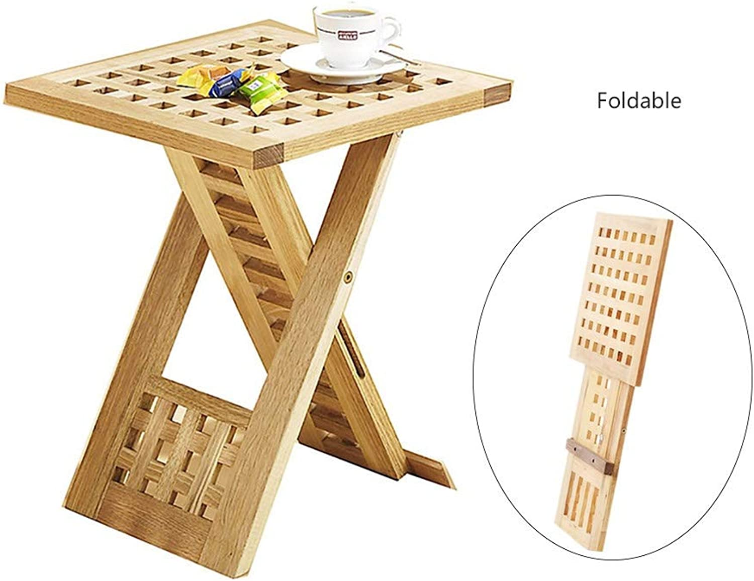 Portable Solid Wood Grid folding table, Wooden Square Grid Foldable Coffe Table 33  33cm, Convenient Storage Patio Side Table Space Saving Multi Purpose