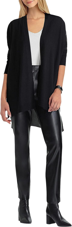 H Halston Long Sleeve Drape Mix Media Cardigan Black XS