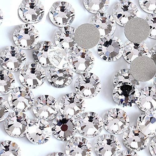 Onwon 1440 SS20 / 4.8mm Clear Crystal Flat Back Brilliant Round Rhinestones Glass Stones Glitter Gems Transparent Faux Diamond (Clear)