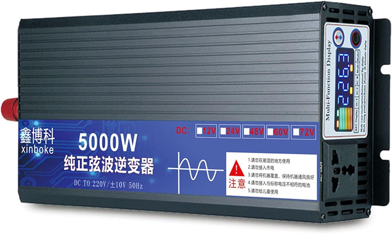 JINGJIN Inversor de Corriente de Onda sinusoidal Pura 3000w 4000w 5000w Convertidor DC 12V 24V 48V 60V 72Va AC 220V con Salidas de AC & Pantalla LED para el Uso en el hogar del Carro de RV,48V-500