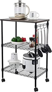 Goujxcy 3-Tier Rolling Kitchen Cart,Open Shelf and Hooks for Storage,Adjustable Mesh Storage Shelves, Lockable Wheels for Kitchen Island,Home,Living Room,Dining Room and Office (Black)