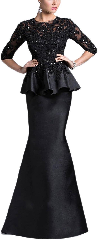 YIRENWANSHA 2Piece Mermaid Lace Beaded Long Sleeve Robe Elegant Formal Evening Dress SHEV116