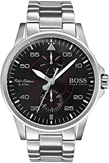 Hugo Boss Aviator Men's Black Dial Stainless Steel Band Watch - 1513518, Analog Display