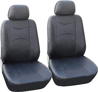 OPT Brand. Universal Fit Vinyl Leather 6 PCS Set Front Car Auto Seat Covers Compatible To Volkswagen Beetle Passat Touareg Jetta Tiguan GTI Golf e-Golf Golf SportWagen, Black Color