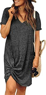 Dearlovers Womens Short Sleeve Tshirt Dresses Side Knot Mini Dress