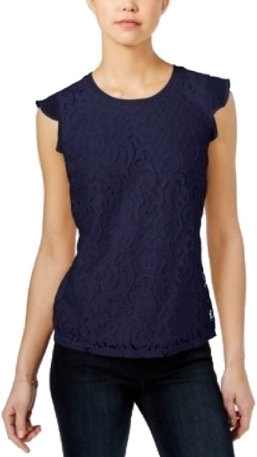 Maison Jules Womens Lace Flutter Sleeve Top bluee X Large