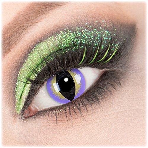 Farbige lila baune'Purple Dragon' Kontaktlinsen 1 Paar Crazy Fun Kontaktlinsen mit Kombilösung (60ml) + Behälter zu Fasching Karneval Halloween - Topqualität von'Giftauge' ohne Stärke