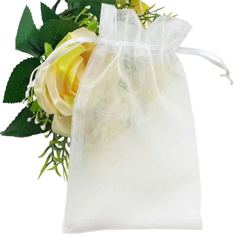 幸福ストロー雇ったFushing 100枚 無地オーガンジー巾着袋 ギフト包装 、ジュエリー、プレゼントポーチ 11*16cm (ホワイト)