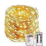 LED Lichterkette, TryLight 20M 200 LEDs 8 Modi IP65 Wasserdicht Kupferdraht Lichterkette Batterie,...