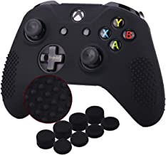 YoRHa Studded Silicone Cover Skin Case for Microsoft Xbox One X & Xbox One S Controller x 1(Black) With Pro Thumb Grips 8 Pieces