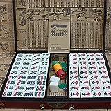 FGDFGDG Cajas de Mahjong de Madera portátiles Grandes Juego de Mesa Juego de Mahjong Juegos de Inicio Juego de Interior Caja de Cuero Antiguo Manual en inglés ah-Jong