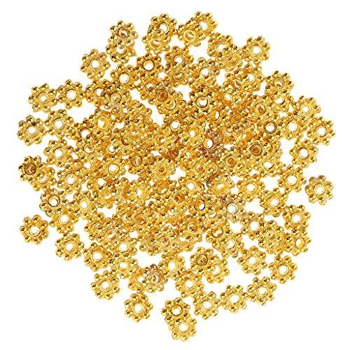 MagiDeal 100pcs Perles Doré Flocon de Neige en Vrac en Métal Bijoux DIY pr Collier Bracelet
