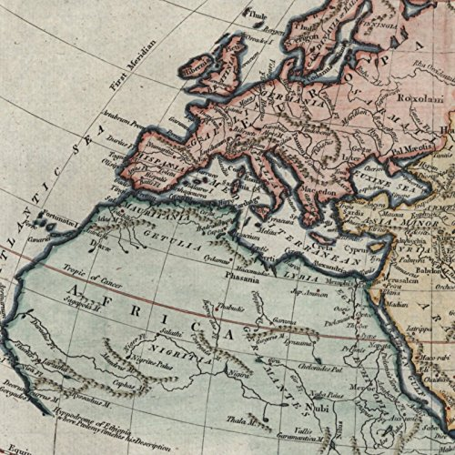 World known to Ancients Arabia Africa India Persia 1795 T Conder rare old map