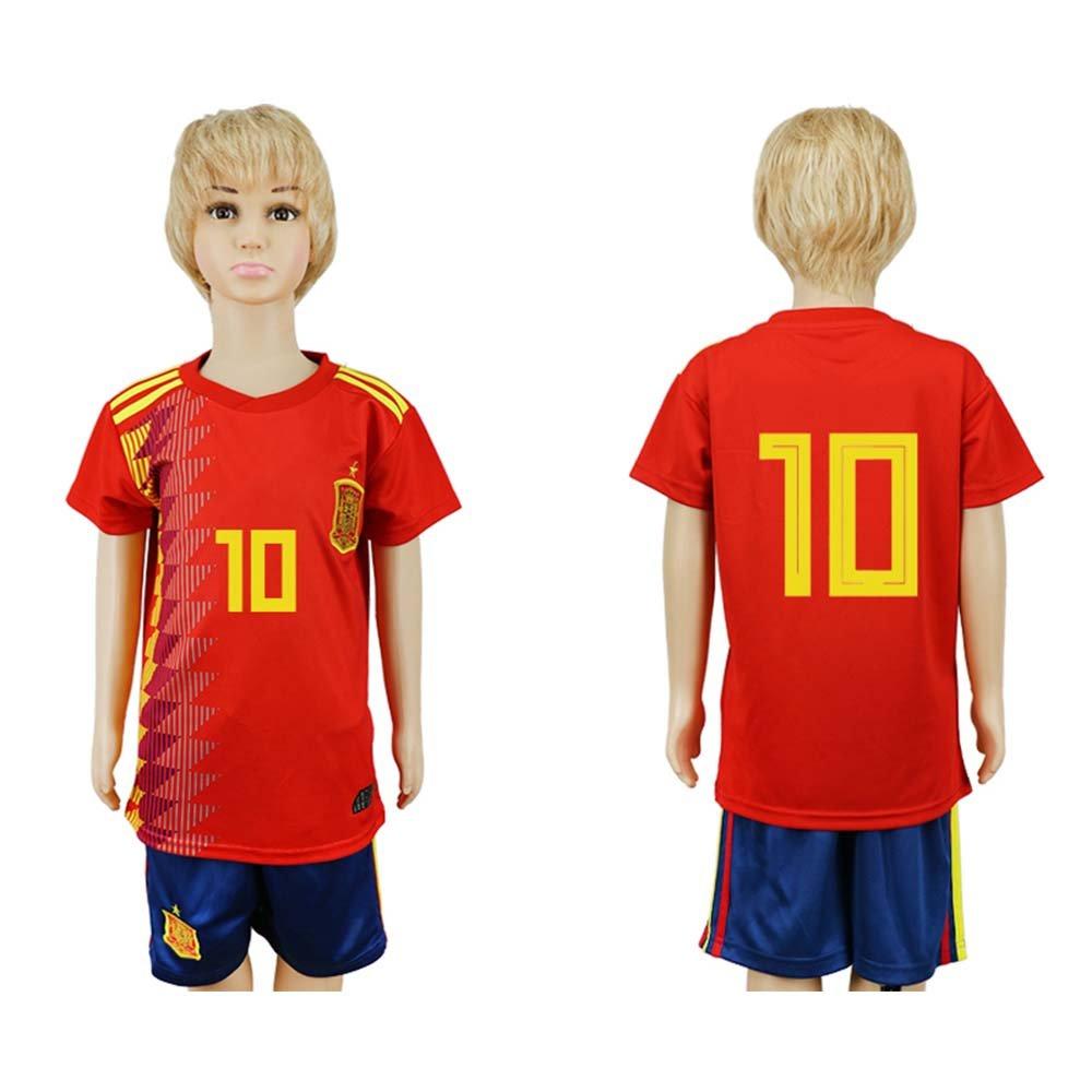 JONGIGO - Juego de camiseta de fútbol para niños, diseño del equipo nacional de España 10 Home 2018, casual , XS (5-6 Years Old), Rojo: Amazon.es: Deportes y aire libre