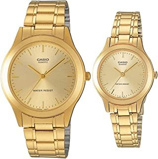 Casio His & Hers Gold Dial Stainless Steel Couple Watch Set - MTP/LTP-1128N-9A
