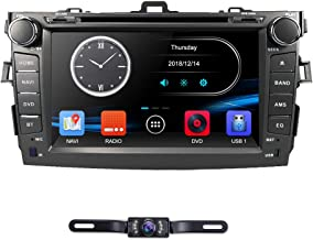 hizpo 8 Inch Double Din Car Radio Stereo Car GPS Navigation Fit for Toyota Corolla 2007 2008 2009 2010 2011 Support Mirrorlink Steering Wheel Control DVD Player Bluetooth RDS AM FM + Rear View Camera