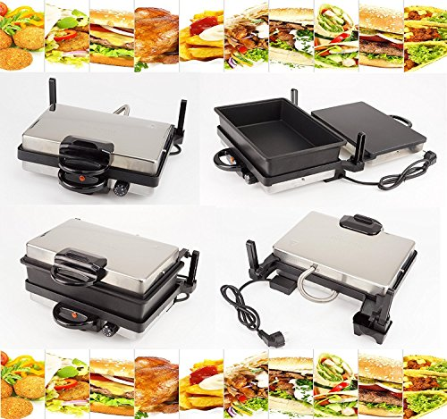 Ertex Electric Grill | Multigrill | Contactgrill | Broodrooster | LAHMACUN + Casserole | Zwart | Teflon MODEL 2019
