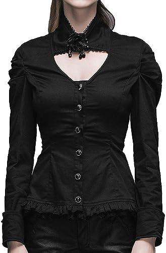 Devil mode Chemise Noire Aristocrate, col avec Rose et Perles, Gothique élégant