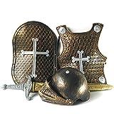 circulor Medieval Knight Armour Set, Disfraz De Armadura De Juguete para Caballero De Halloween para Niños (Casco + Espada + Escudo + Armadura)