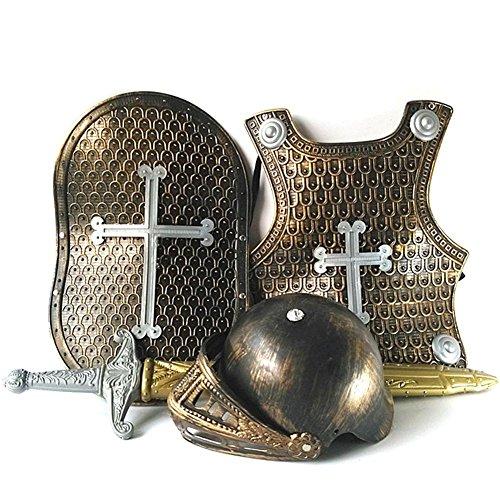 Dough.Q Conjunto de Armadura de Caballero Medieval para niños, Disfraz de Caballero para niños - Casco, Espada, Escudo, Peto Disponible en Accesorio de Vestuario de Bronce o Plata
