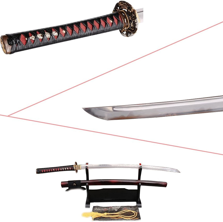 Lyuesword Folded Steel Katana Battle Ready Clay Tempered Sword with Abrasive Stone