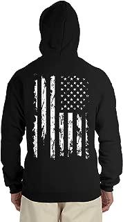 Distressed White USA Flag Back Print Hooded Sweatshirt