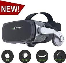 هدست واقعیت مجازی، VR SHINECON جدید نسخه 9.0 VR هدست 3D VR عینک برای تلویزیون، فیلم و بازی های ویدئویی - VR عینک آفتاب سازگار با iOS، آندروید و دیگر گوشی ها در 4.7 - 6.0 اینچ
