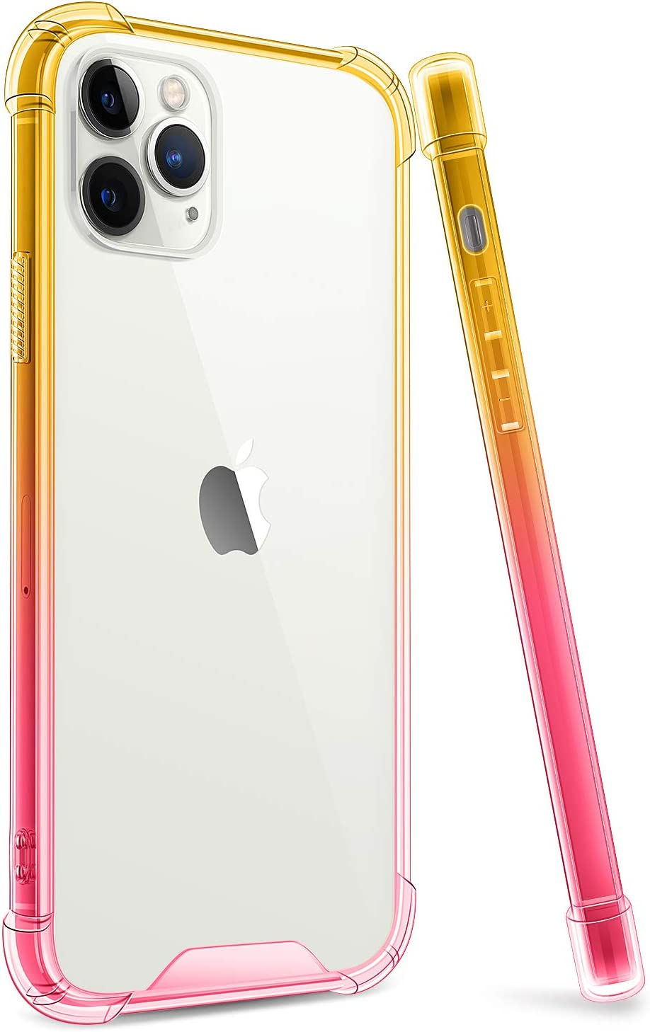 ANSIWEE Designed for iPhone 12 Pro 6.1 Inch Case, Military Grade Shock Drop Proof Impact Resist Extreme Durable Soft Gradient Bumper Clear Hard Back Cases for iPhone 12 5G (Gold Yellow Pink)