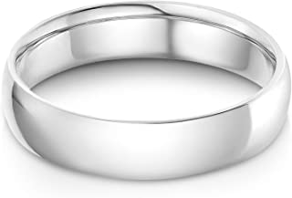 14k Solid Yellow OR White Gold 5mm Plain Standard Classic Fit Traditional Wedding Band Ring