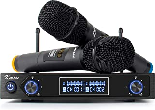 Kmise Karaoke Wireless Microphone System UHF Mic Dual Channel Cordless Handheld Mic Set for Presentation Church